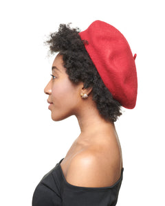 LAYD Red Wool Felt Beret Side