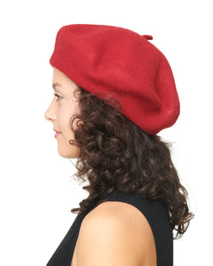 Red Wool Felt Beret Side