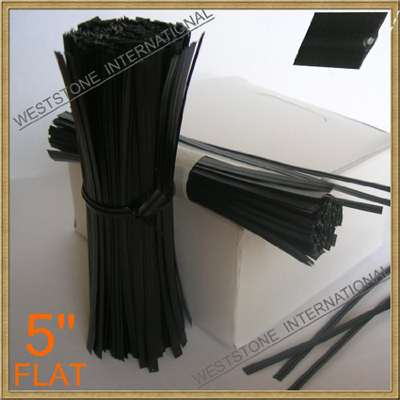 Plastic Twist Ties - 5 inch - Black - Bag of 125