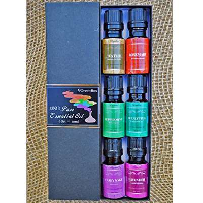 9GreenBox - Aromatherapy Top 6 100% Pure Therapeutic Grade Basic Sampler Essential Oil Gift Set- 6/10 Ml (Lavender, Tea Tree, Eucalyptus, Rosemary, Clary Sage, Peppermint) - 9GreenBox