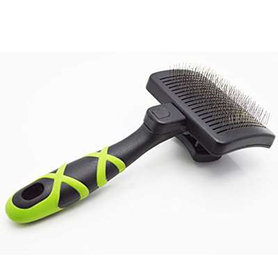 HelloPet USA - Small Self-Cleaning Slicker Brush - 9GreenBox