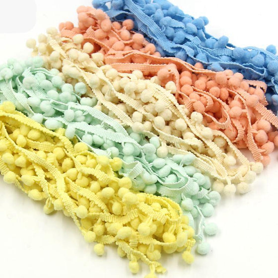 5Yards/Lot 10MM Pom Pom Trim Ball Fringe Ribbon - 9GreenBox