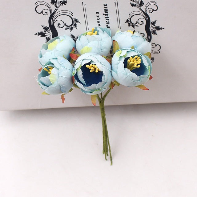 6Pcs Mini Tea Rose Bud Artificial Flower - 9GreenBox