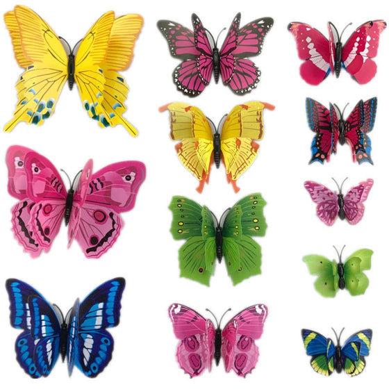 12pcs 3D PVC Magnet Butterflies Wall Stickers - 9GreenBox