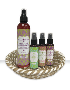 "Florence de Dampierre's ""Esprit de Provence"" 5-piece Pillow Spray and Air Freshener Basket Set"