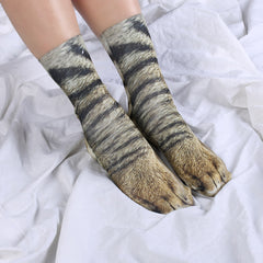 1Pair Novel Style Unisex Funny Socks Men Women Harajuku Hosiery Different Styles Animal Paw Pattern 3D Print Socks