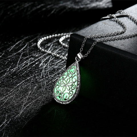 Glowing Water Drop Locket Necklace