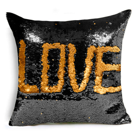 LOVE: Two Tone Glitter Sequins Throw Pillow Case