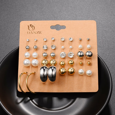 20 Pairs Crystal and Pearl Stud Earrings