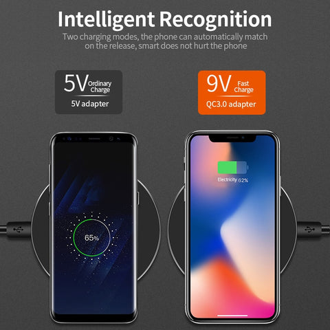 DCAE Qi Wireless Charger For iPhone 8/8Plus/X QC3.0 10W Fast Wireless Charging for Samsung S9/S8/S8+/S7/S6 Edge USB Charger Pad