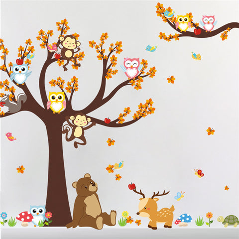 Cartoon Animal Forest Tree Branch Wall Decal