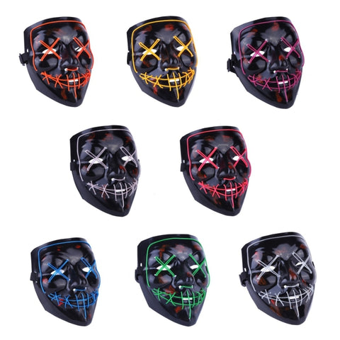 Halloween Mask LED Light Up Party Masks Costume Glow In Dark
