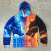 Image of Ice Fire Wolf Hoodies / Pullover Autumn
