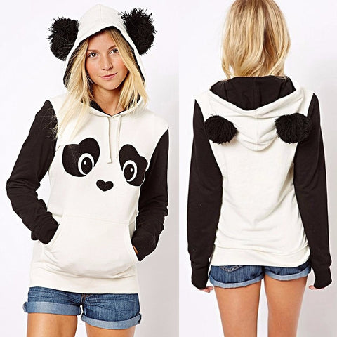 High-Quality Women's Winter Warm Panda Fleece Pullover Jumper Hooded Sweater