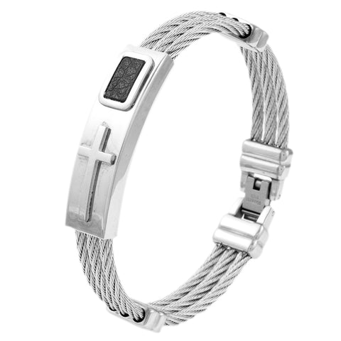 Stainless Steel Bracelet 3 Rows Wire Chain Bracelets Bangles Jesus, Christian Faith