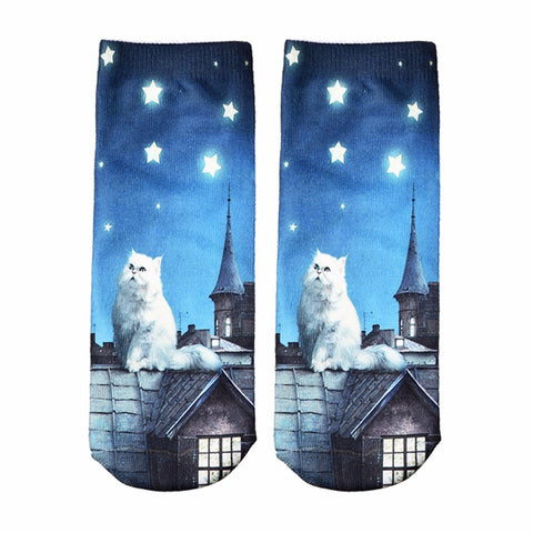 Socks Cute Animal Cat Cartoon Character Dollar Bill Skull Foot Funny Socks Women