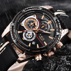 LIGE Leather Military Waterproof Men's Luxury Quartz Watch
