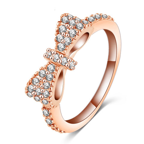 Lovely Zirconia Silver and Rose Gold Bow Rings