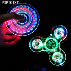 Toy Crystal LED Hand Fidget Clear Flash Light EDC Finger Spinner