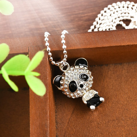Pretty Enamel Rhinestone Panda Pendant Necklace Women's Crystal Jewelry