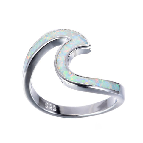 White Fire Opal Wave Rings