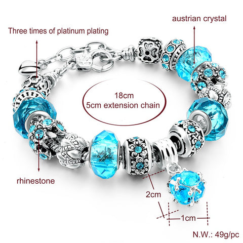 Silver Plated Crystal Beads Charm Bracelet Bangles