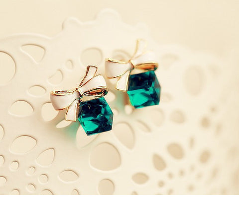 Gold Chic Bow Cubic Crystal Earrings