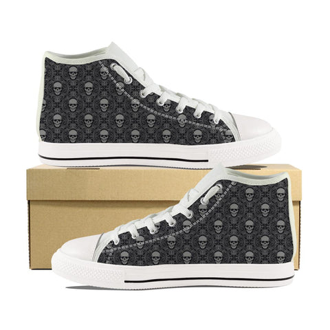 Men's Hard Skull Print High Top Shoes