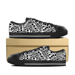 Women's White Skull Low Top Shoes