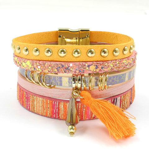 6 color Summer Bohemian  Leather Charm Bracelets & Bangles