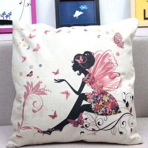 Flower Butterfly Girl Cushion Cover For Throw Pillow
