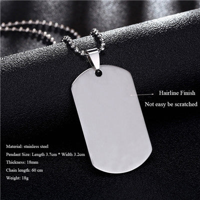 Army Dog Tag Stainless Steel Necklace