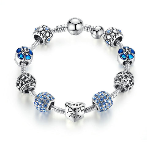 Love and Flower Crystal Ball  Silver Charm Bracelet