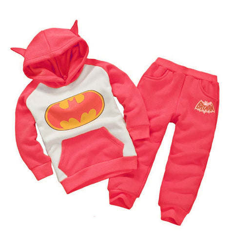 Costume Batman Hoodie+Pant 2pcs Kids Sports Suit Boys and Girls Clothing Set