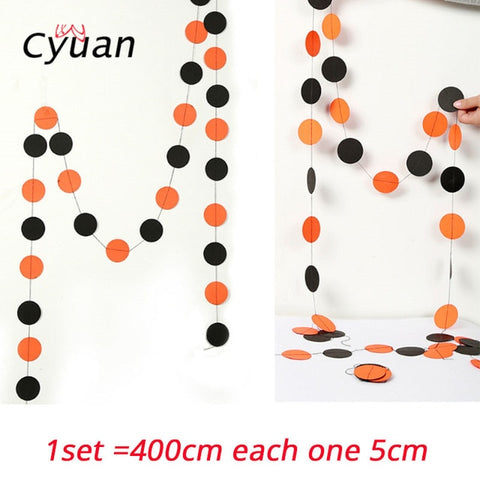 Cyuan Halloween Decoration Prop Foil Balloons Spider Web Pumpkin Bunting Banners Paper Garland Kids Halloween Party Supplies