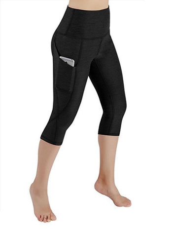 Black Capri Fitness Leggings Mid-Calf with Pocket