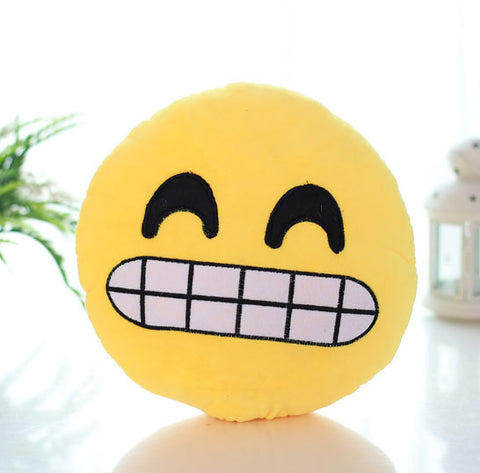 Cute Emoji Soft Round Throw Pillow