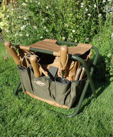 Happy Gardens - Canvas Tool Bag & Stool Carry-All