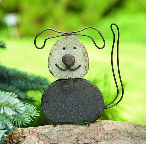 Happy Gardens - Dog River Stone Garden Statue