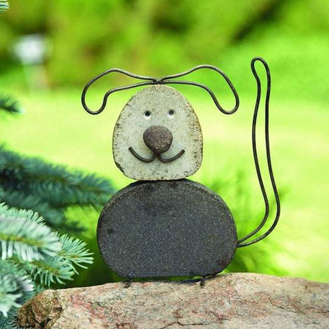 A garden statue of a cute dog made of stone and steel.