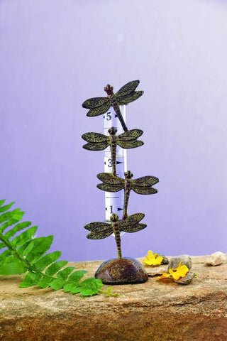 Happy Gardens - Dragonfly Rain Gauge - Cast Brass
