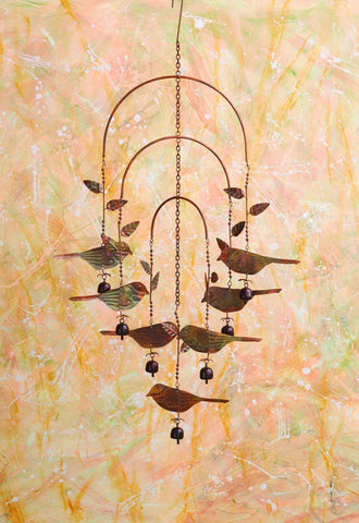 Happy Gardens - Hanging Birds with Bells Mobile Wind Chime