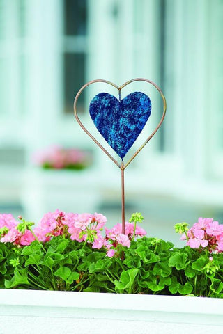 Happy Gardens - Blue Heart Disc Garden Stake
