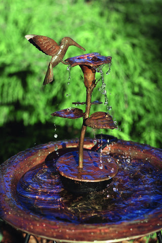 A Solid Copper Hummingbird Dripper Fountain