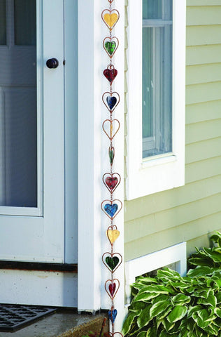 This colorful rain chain is a great way to brighten up your porch.