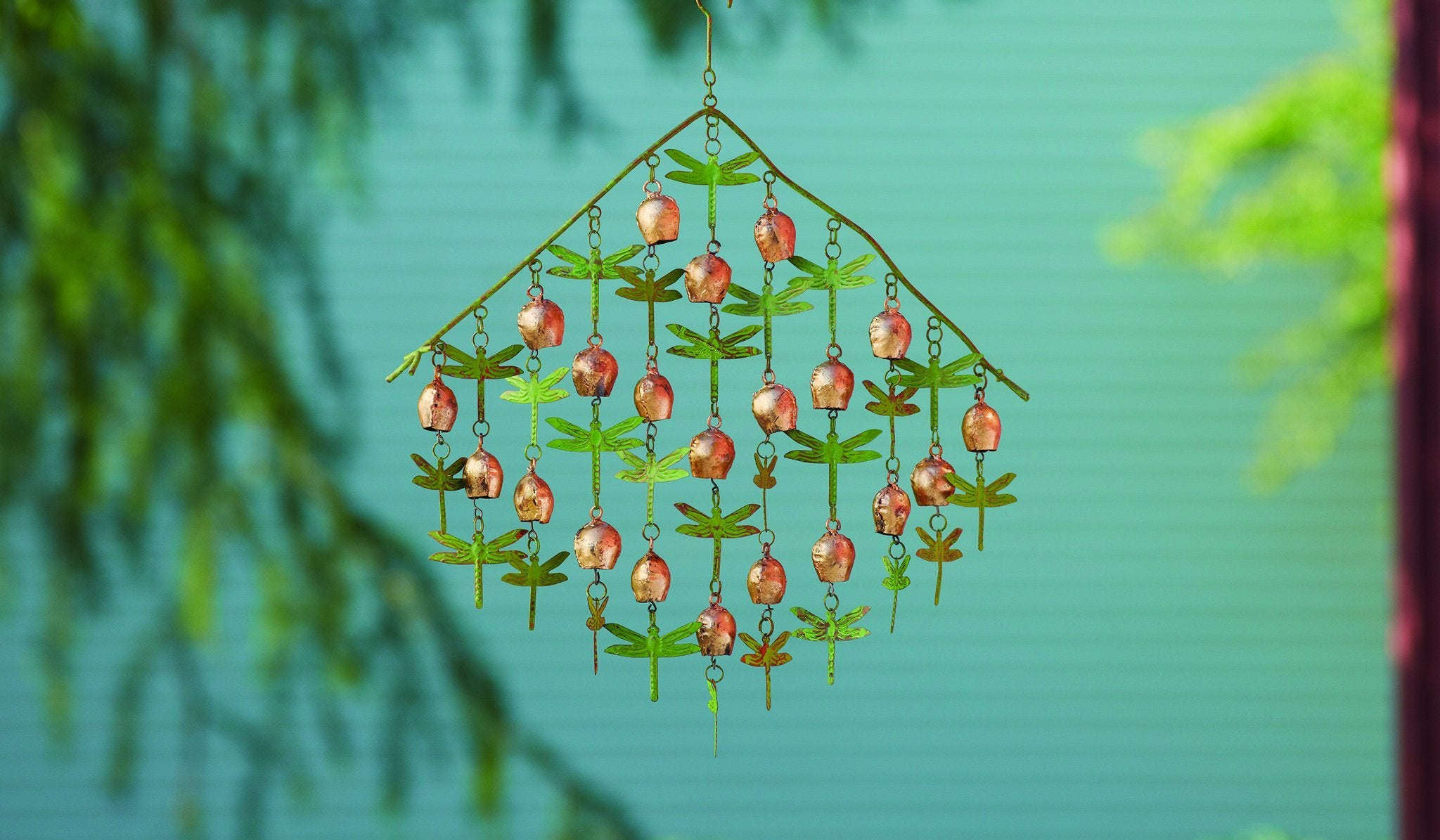 Happy Gardens - Shimmering Dragonflies and Bells Ornament