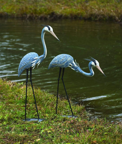 Happy Gardens - Heron Pair; 1 Standing and 1 Bowing