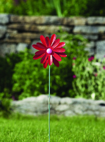 "Happy Gardens - 8"" Painted Red Flower Spinner"
