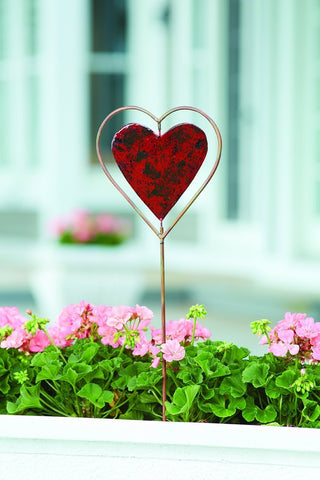 Happy Gardens - Red Heart Disc Garden Stake