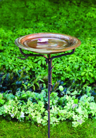 Happy Gardens - SOLID COPPER BIRD BATH WITH TWIG BASE, STAKED